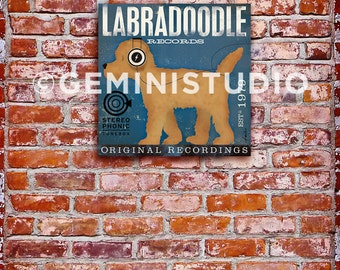 Labradoodle Records dog graphic art on gallery wrapped canvas by by stephen fowler