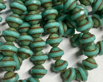 15 Turquoise Picasso Carved Czech Glass Saturn Saucer Beads 10mm x 8mm