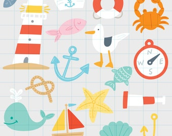 Nautical clipart - Hand drawn instant download PNG graphics - 0010