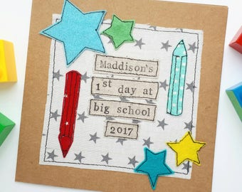 1st day of school card, first day of school card, good luck at school card, starting school, reception class, infants school, primary school