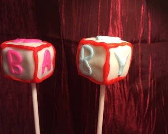 Baby Block Cake Pops- Baby Shower- Gluten Free Available-First Birthday
