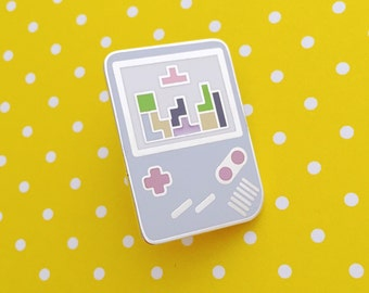 Pastel Gameboy Tetris Enamel Pin Badge, Lapel Pin, Tie Pin