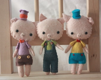 Three Little Pigs. Plush Doll. Animal Stuffed Doll. Softie. Gingermelon.