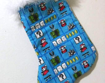 Super Mario Bros Retro Video Game Christmas Holiday Quilted Stocking