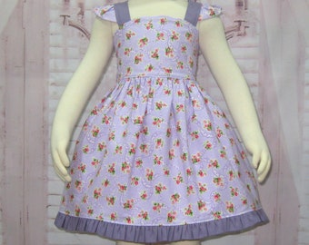 Purple Pinafore Dress, Vintage Style Pinafore, Purple Bloomer, Floral Dress, Ruffle Dress, Purple Bloomer, Baby Pinafore, Baby Pinafore Set