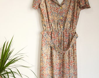 Vintage Floral Midi Button up Dress with Matching Belt