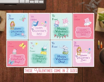 Kids Valentine Cards for School Valentines Tags Preschool Valentines for class Teacher valentine for students Cute Valentines cards for kids