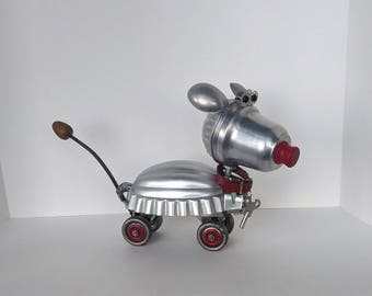 Assemblage Art dog robot - Steampunk sculpture - Robot art - Dogbot - Recycled Upcycled Repurposed - Roller Derby Dog
