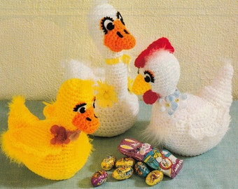 "Vintage Stuffed Toy CROCHET PATTERN Duck~Ducks~8"" tall~Quick & Easy~Instant Download e-pattern"