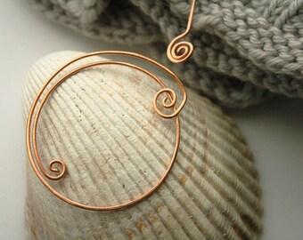 Circle shawl pin, copper