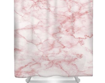 Attractive Pink Shower Curtain, Marble Shower Pink Bathroom, Girl Bathroom,pink And  White Shower