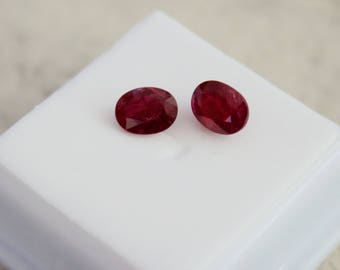 A Pair of 3.57 tcwt Natural Genuine 8x6 MM Beautiful Red Ruby Gemstones.