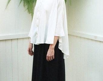 Blouse Tunic for Women Asymmetrical Blouse Plus Size Tunic Plus Size Clothing White Top Organic Clothing White Blouse White Tunic White Top