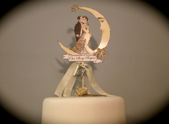 Customized Wedding Cake Topper - Moon - Vintage Inspired -Silver Glitter - Book Themed