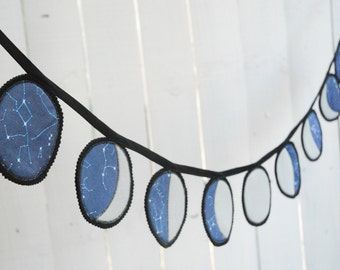 Moon Phases Wall Hanging, Organic Cotton and Felt Bunting, Moon Phases Banner - Navy, Made to Order, Galaxy Decor