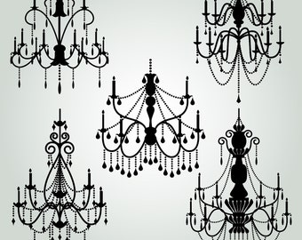 Chandelier Clipart Clip Art 2, Chandelier Silhouettes Clipart Clip Art - Commercial and Personal Use