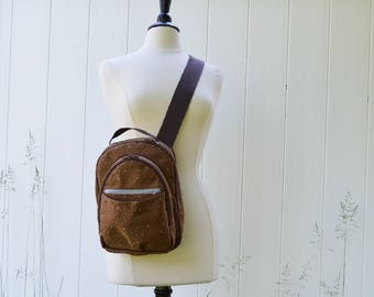 Sample Sale Sling Pack in Brown with Dots Performance Fabric Ready to Ship