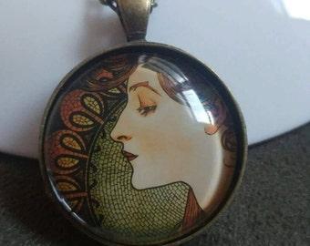 Alphonse Mucha art glass pendant. Art nouveau necklace. Alphonse Mucha necklace. Lady art necklace. Portrait glass pendant.Mucha jewelry.