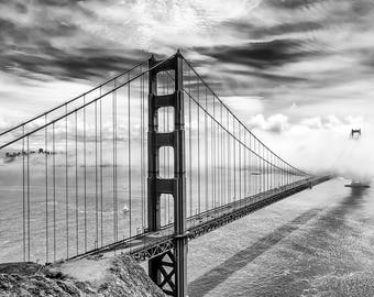 San Francisco Black & White Photograph of Golden Gate Bridge Fog - This California Wall Art Print For Sale is Perfect for Home Decor