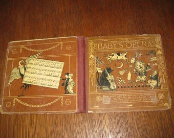 """Vintage 1877 children's book  """"The Baby's Opera""""  by Walter Crane Litho prints Rhymes to music Excellent for age!"""