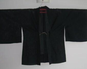 Beautiful Vintage Black Elegant Haori Coat Kimono Top Jacket