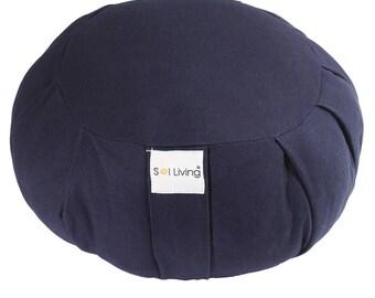 Navy Blue Zafu Meditation Cushion, 100% Organic Cotton Cushion with Full Back Support, Durable Eco-Friendly Meditation Pillow