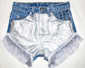 Metallic Silver Studded Shorts, High Waisted Denim Shorts, Levi Vintage Denim Shorts,   Shorts, Plus Size Shorts
