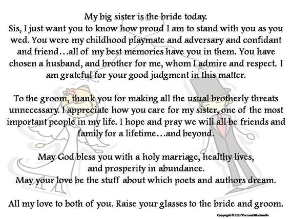 Wedding Day Speeches Father Of The Bride: Toast To Bride From Brother Printable Download Best Man Toast