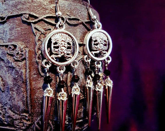 Spikey Maya Earrings - goth gothic ancient tribe spike earrings culture