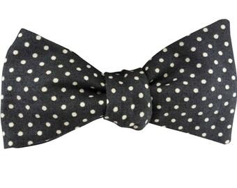 Men's Bow Tie, Bow Tie for Men, Grey and White Polka Dot Bow Tie, Self-Tie Bow Tie