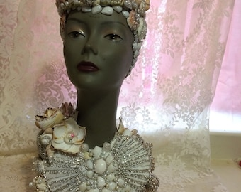 Mannequin Bust Mermaid Queen  Decorated with Seashells and Rhinestones