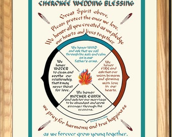 Cherokee Wedding Blessing unique gift Personalized for newlyweds, framed, Native American, hand-lettered print, great anniversary gift