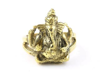 Brass Ganesh Ring, Ganesha Ring, Elephant, Meditation, Yoga Jewelry, Tribal, Ethnic Ring, Gypsy, Hippie Jewelry, Festival Jewelry, Boho