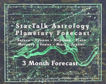 """3 month Planetary  Forecast Report  8 Planet Astrological Forecast.   """"160 to 200 Pages"""""""