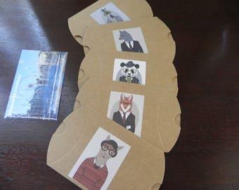 Set of 5 stuffed animals costumed measuring 9 cm x 7 cm