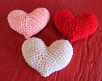3 Crocheted Hearts for your Valentine