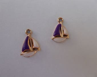 2 Gold enameled boat charms 21mm x 14mm white and blue