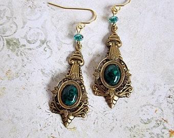 Green Gemstone Earrings, Green and Brass Dangles, Victorian Earrings, Downton Abbey Drops, Arabesque Design, Fossil Green Earrings, Green