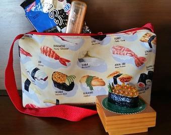 KAWAII Sushi Purse by Atenti - Novelty Purse - Vintage Kitsch - 'BENTO' Lunch Tote - Japanese Inspired - Sushi Print Fabric - Oishii YUM!