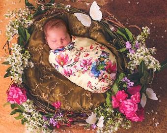 Organic Swaddle Blanket ,  Floral Swaddle Blanket , Floral Baby Blanket , Organic Baby Blanket ,  Butterfly Baby Blanket , Stroller Blanket