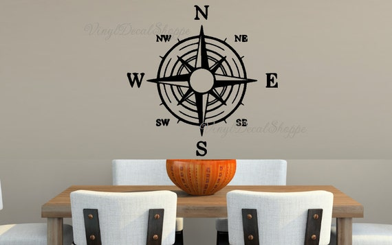 ... Compass Wall Decal, Nautical Decal, Compass, Compass Wall Mural,  Compass Decal,