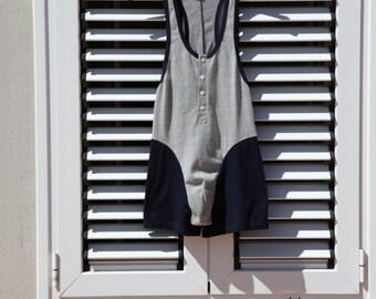 Navy blue-white men's vintage bodysuit jumpsuit underwear.