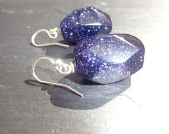Blue Sandstone Nugget Earrings on Sterling Silver Shepherds Hooks with Black Velvet Handmade Gift Packaging