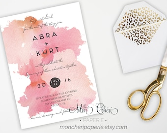 Watercolor Wedding Invitation, Watercolor RSVP Card, Wedding Dinner Menu, Printable DIY Wedding Invitation