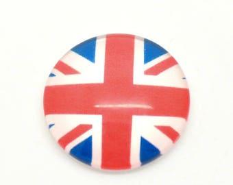 1 glass cabochon round Union Jack UK 20 mm diam.