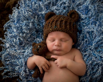 Custom Baby Bear Hat and Tiny Bear Set, Photography Bear Set, Made to Order