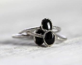Black Obsidian Ring - Fine Silver Ring - Electroformed Silver Ring