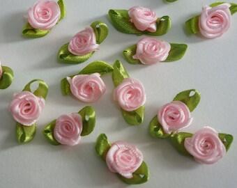 pink Satin Ribbon Flower Appliques -36pcs