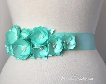 Aqua Turquoise Wedding Sash/ Bridal Ribbon Sash/ Bridesmaids Sash/ Handmade Accessory