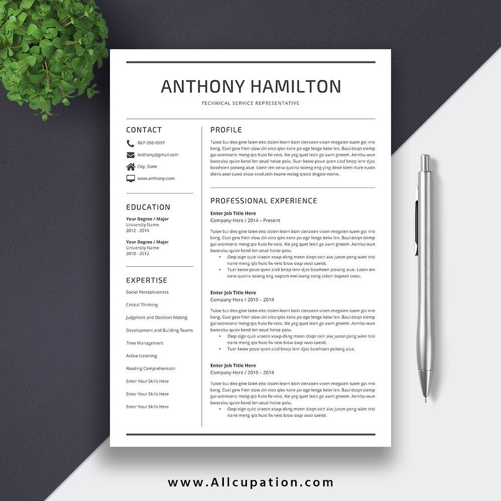 Etsy Simple Resume Template 5 Pages Resume Template With Cover